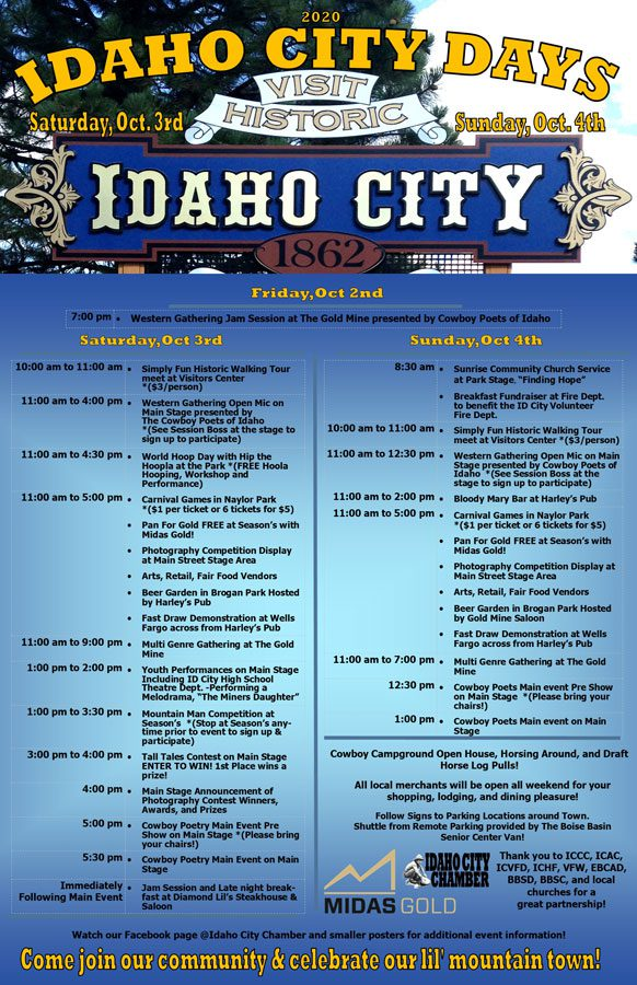 Idaho City Day Schedule